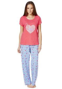 ced6fe5d33b5 F F Butterfly Print Love Slogan Pyjamas Love Slogan