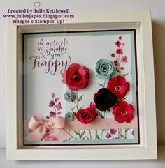 Julie Kettlewell - Stampin Up UK Independent Demonstrator - Order products Retreat Floral Frame Project Flower Shadow Box, Diy Shadow Box, Flower Frame, Box Frame Art, Box Frames, Crafts To Sell, Diy And Crafts, Paper Crafts, Felt Flowers