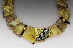 Necklace with a gorgeous enamel center piece by Hunter- studios