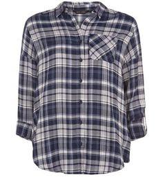 Blue Check Drop Shoulder Roll Sleeve Shirt