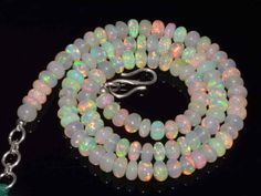 Natural Ethiopian Welo Opal Gemstone Rondelle Plain Beads 72 Cts Necklace #4184