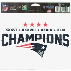 Patriots 4x Super Bowl champions decal