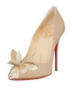 Maripopump Butterfly Red Sole Pump, Nude by Christian Louboutin at Neiman Marcus.