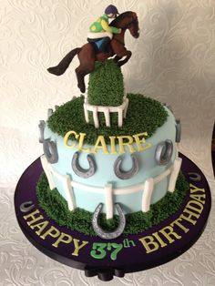 Horse racing cake - ruby Walsh colours 37th birthday cake Chocolate fudge cake with fudge filling and chocolate buttercream