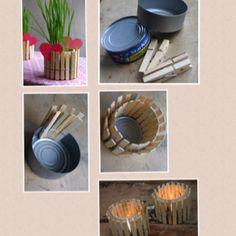 Zoek een pot of blik en knijp er wasknijpers op! Steek de wasknijpers in een kleurtje en het geheel is af. Hele toffe resultaten!