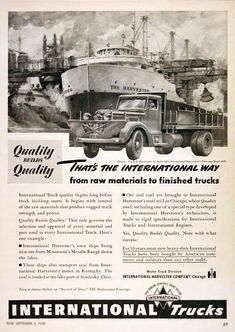 1948 International Harvester Heavy Duty Trucks original vintage advertisement. Features a dock side view of a stake bed truck alongside the S.S. Harvester at the Chicago Steel Mill.