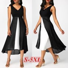 2019 Plus Size Fashion Women Summer Dress V-neck Sleeveless Chiffon Party Dress Plus Size Dresses Vestidos Plus Size, Plus Size Dresses, Bodycon Dress Parties, Party Dress, Mode Ab 50, Cocktail Bridesmaid Dresses, Beach Wear Dresses, Dress Beach, Ivory Dresses