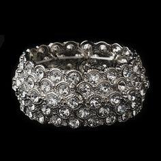 Antique Silver Cuff Bracelet Embellished in Cobblestone Circles of Rhinestones 3109/14