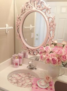 looks like a frame has been attached to the large wall mirror...lovely idea...Romantic Shabby Chic Bath