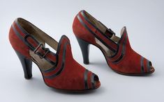 Red suede open-toe shoes, 1938-1940~ Rotterdam Museum. 1930s 30s fashion: pumps.
