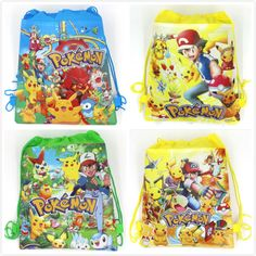 1 unids Pokemon Ir de la historieta no tejidos del morral del lazo, mochila, bolso de compras