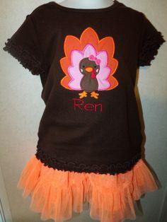 Girl Thanksgiving Fall Turkey Shirt Onesie any by rowanmayfairs, $27.00