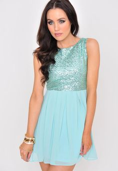 Happy to see my FaVoRite color popping up everywhere! ~ Camille Sequin Top Dress in Aqua