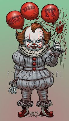 Chucky IT - 2017 Creepy Clown, Scary, Stephen King Movies, Bride Of Chucky, Pennywise The Dancing Clown, Horror Icons, Arte Horror, Halloween Art, Horror Movies