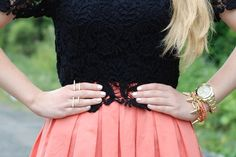 Black lace and coral