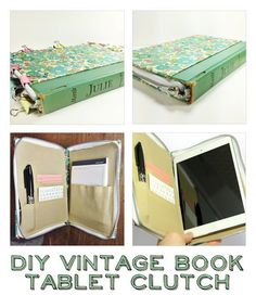 DIY Vintage Book Tablet Clutch - ipad - Ideas of ipad - DIY Vintage Book Tablet Clutch Book Projects, Diy Projects To Try, Crafts To Do, Geek Crafts, Book Clutch, Book Purse, Diy Vintage Books, Diy Old Books, Vintage Library