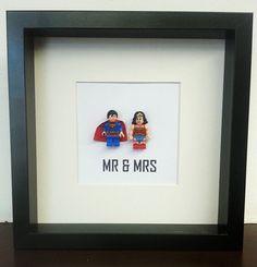 Wedding Lego couples gift idea super hero picture frame (Wonder woman and Superman), anniversary, engagment, superhero's Mr & Mrs