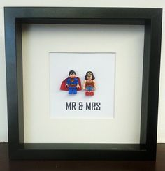 Wedding Lego couples gift idea super hero picture frame (Wonder woman and Superman), anniversary, engagment, superhero's Mr & Mrs