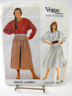 Ralph Lauren Vogue Sewing Pattern 2935 Tall Size 8 Blouse... https://www.amazon.com/dp/B0120Z287U/ref=cm_sw_r_pi_dp_SwPBxbN3R5467