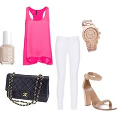 Hot Pink Top And White Jeans Look (also with black pants and black wedges)