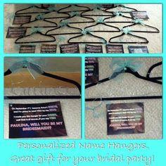 Personalized Hangers with matching poems for each bridesmaid - #thegluegirl www.thegluegirl.com