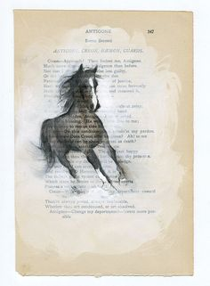 ORIGINAL Mixed Media Horse Drawing on Antique Book Page - 6x9 inches