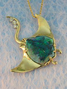 Manta Ray with Australian Crystal Opal by martymagic on Etsy