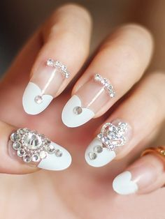 French Artificial False Nails With Rhinestone