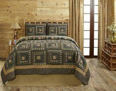 SMOKEY CABIN Quilted Bedding Set - 3 piece King Set A traditional log cabin block design of plaid and solid fabrics in cream, deep khaki tan, black, and a touch King Quilt Sets, Queen Quilt, Country Bedding Sets, Primitive Bedding, Primitive Quilts, Plaid, Bed Duvet Covers, Pillow Shams, Quilt Bedding
