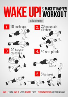Wake up & make it happen workout Got to do this before morning prayer! 1 set would do the trick