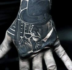 Incredible Male Gangster Portrait Hand Tattoos