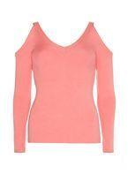 Womens Pink V-Neck Cold Shoulder Knitted Jumper- Pink