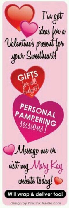I've got some GREAT ideas for Valentine's Day!! Visit my website: www.marykay.com/shanaameredith