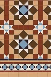 Specific breakdowns of our patterns showing the number of tiles required per square metre, from the simple checkerboard to the most complex design made up from many different shapes and colours. Doll House Flooring, House Tiles, Floor Patterns, Tile Patterns, Victorian Rooms, Victorian House, Tiled Hallway, Hallway Designs, Geometric Tiles