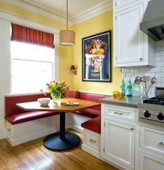 Furniture, Kitchen Booths Yellow Wall Paint Color Red Foam White Cabinet Unique Pendant Lamp Laminate Floor Window White Roofing Flower Vase Amazing Elegant In The Corner: Wonderful Design Of Breakfast Nook Seating In Small Kitchen Kitchen Banquette, Banquette Seating, Kitchen Benches, Dining Nook, Kitchen Nook, Corner Banquette, Kitchen Ideas, Smart Kitchen, Red Kitchen