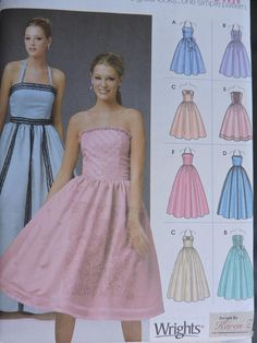 Graduation Party Dress Varied Lengths Styles Wright Designed Karen Z Simplicity 5185 Pattern Sizes 12 - 18 Cool Patterns, Beautiful Patterns, Design Your Own Dress, Cabbage Patch Kids Dolls, Costume Patterns, Vintage Tops, Pattern Fashion, Doll Clothes, Strapless Dress