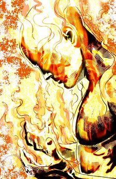 Human Torch (Johnny Storm) by Jon Hughes