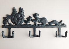 Squirrel Wall Hook, Gray Rustic Coat Hanger, Cast Iron Squirrel Decor, Woodland Animal, Dog Leash Hook, Outdoorsman Decor