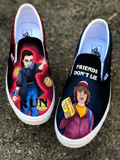 Vans Slip On Shoes, Custom Vans Shoes, Custom Painted Shoes, Hand Painted Shoes, Me Too Shoes, 80s Shoes, Women's Shoes, Nike Shoes, Dress Shoes