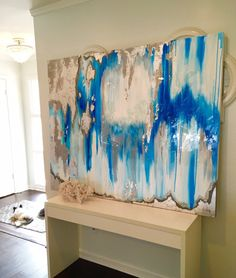 "Sold!! Acrylic Abstract Art Large Canvas Painting Gray, Silver, Blue Ikat Ombre Glitter with Glass and Resin Coat 48"" x 60"" real Silver leaf"
