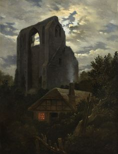 Carl Gustav Carus (German, 1789 – 1869)   Ruine of Eldena with hut in the moonlight, 1819/20  Oil on canvas