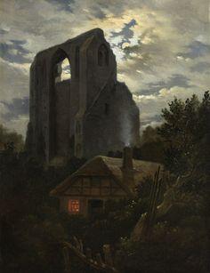 Beautiful Ruins of the Eldena Monastery with cottage near Greifswald in Moonlight by Carl Gustav Carus German