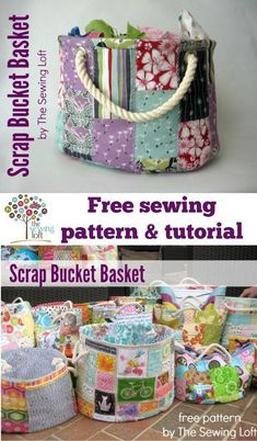 This easy to make bucket pattern is perfect for storing all your scrap bits and so much more! Make it from scraps then use it to store more scraps! Kids love them too for their toys. The Sewing Loft #artsandcraftsstores,