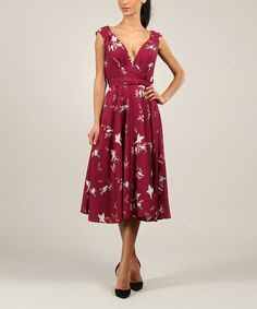 Love this Plum Robin V-Neck Dress!  It's so RETRO 50s!!!! by Kushi by Jasko on #zulily! #zulilyfinds
