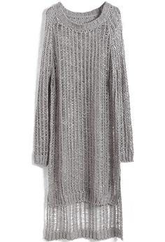 Grey Long Sleeve Hollow Split Loose Sweater