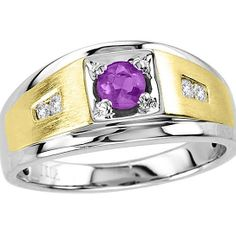 Men's 5x5 Round Amethyst Two-Tone Ring With Genuine Diamonds In Sterling Silver from Naomis & Co on OpenSky