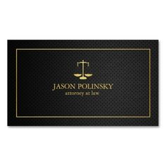 Elegant Black and Gold Attorney At Law Business Card Templates. This great business card design is available for customization. All text style, colors, sizes can be modified to fit your needs. Just click the image to learn more!