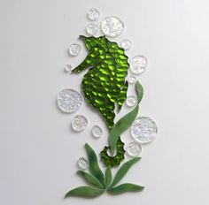 Ready for you to use in your mosaic project. Green mirrored SEAHORSE Precut Stained Glass Art Mosaic Inlay Kit - Nautical Seascape  #RachelKratzer