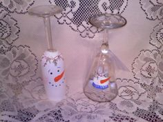 Cheap glasses from garage sales, turn upside down paint simple snowman and add tea light to top. Cheap new decoration made from used items.