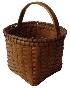 """A435 Late 19th century Small Virginia gathering basket with the original beautiful nutmeg paint, this basket is in outstanding condition, with a double rim single wraped, It is tight with no breaks.9"""" tall x 7 1/2"""" diameter"""
